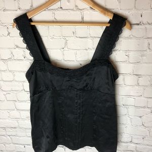 Nanette Lepore Black Lace and Silk Top